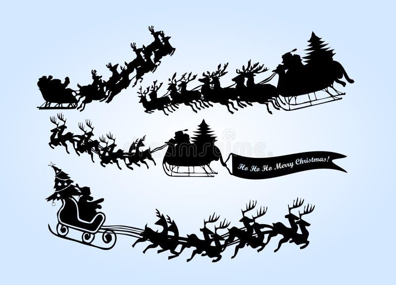 Het vliegen santa met reinder stock illustratie