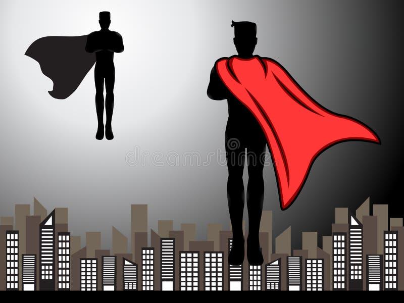 Het vliegen Superhero Klaar voor Strijdsilhouet royalty-vrije illustratie
