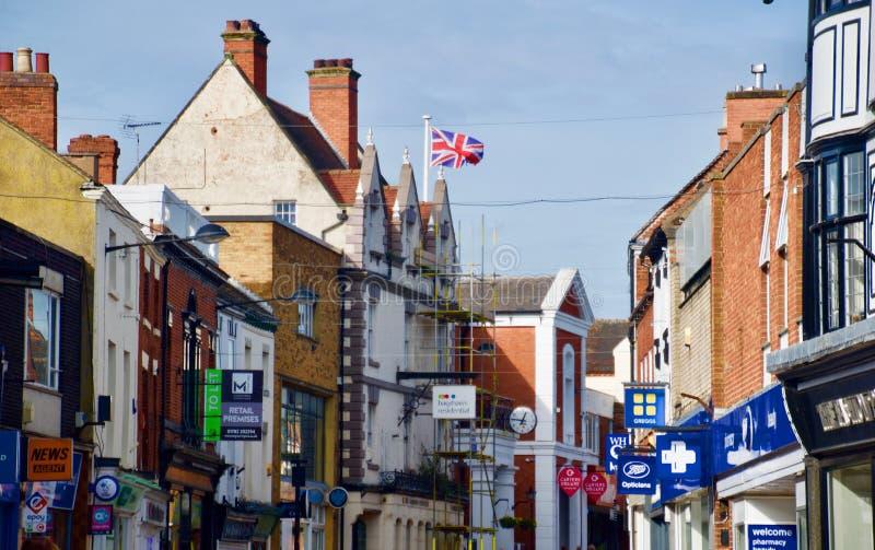 Het vliegen van de vlag in Uttoxeter stock fotografie