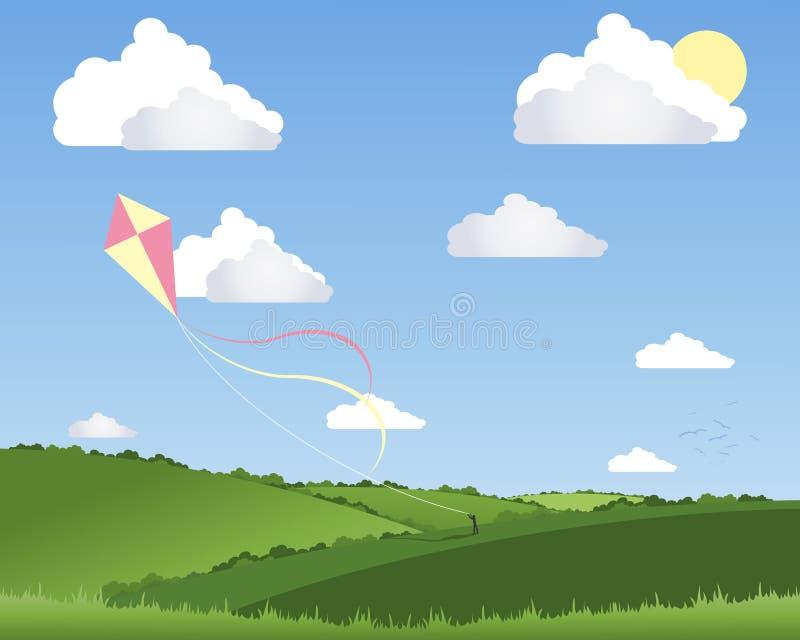 Het vliegen van de vlieger stock illustratie