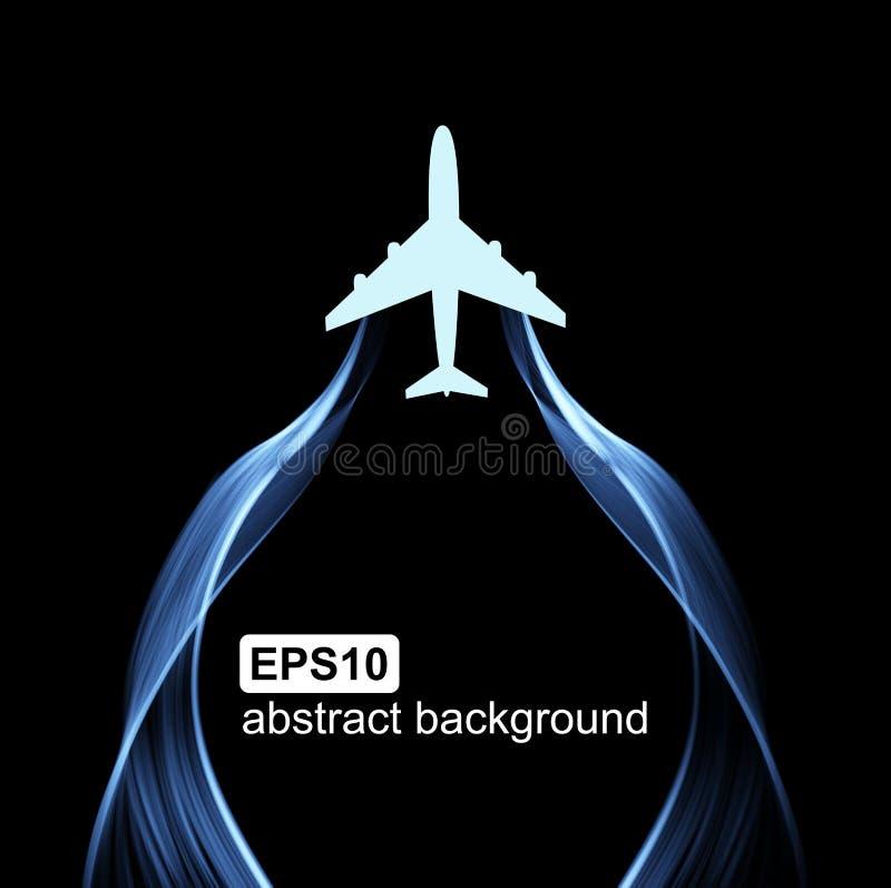 Het vliegen van de vliegtuig en golfrook Abstracte lichte futuristische achtergrond royalty-vrije illustratie