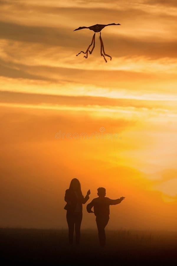 Het vliegen van een vlieger Het meisje en de jongen vliegen een vlieger op het eindeloze gebied Heldere Zonsondergang Silhouetten stock afbeelding