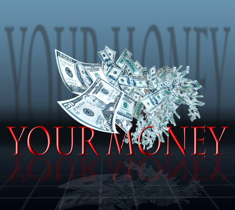 Het vliegen van het geld royalty-vrije illustratie