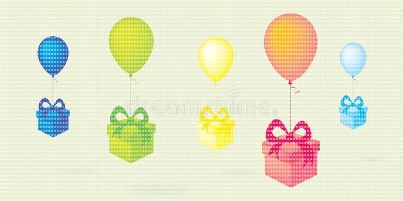 Het vliegen van kleurrijke Vliegende kleurrijke ballons met giftdozen stippelt vectorachtergrond stock illustratie