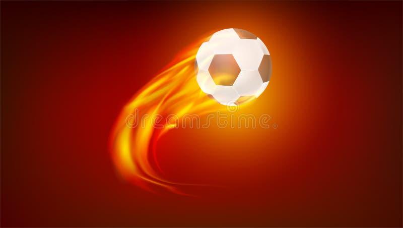 Het vliegen van opbrandende klassieke voetbalbal Pictogram van realistische voetbalbal in brand 3d vectorillustratie Symbool van royalty-vrije illustratie
