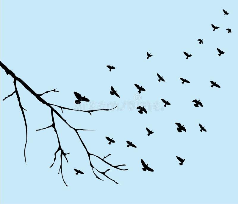 Het vliegen van vogels royalty-vrije illustratie