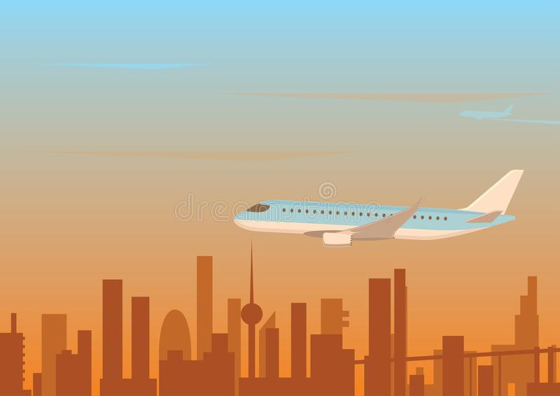 Het vliegen vanaf de stad stock illustratie