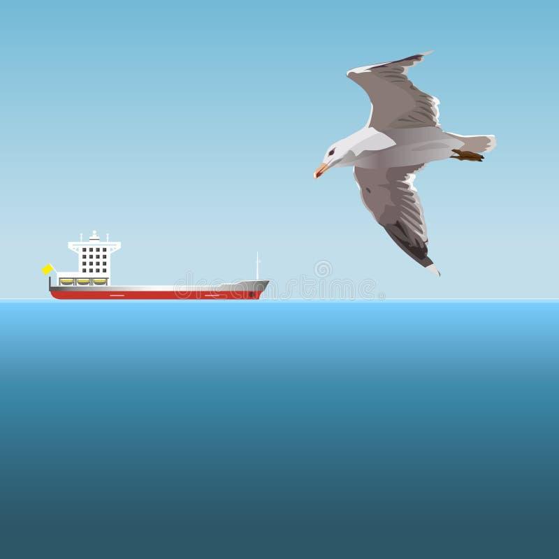 Het vliegen zeemeeuwvector royalty-vrije illustratie