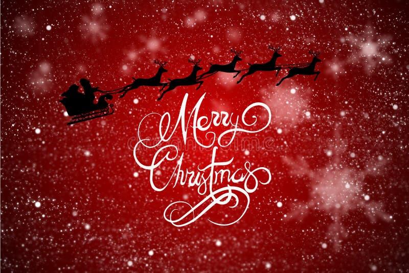Het vliegende Bericht van Santa Sleigh en van Kerstmis op Rood Ontwerp Als achtergrond stock illustratie