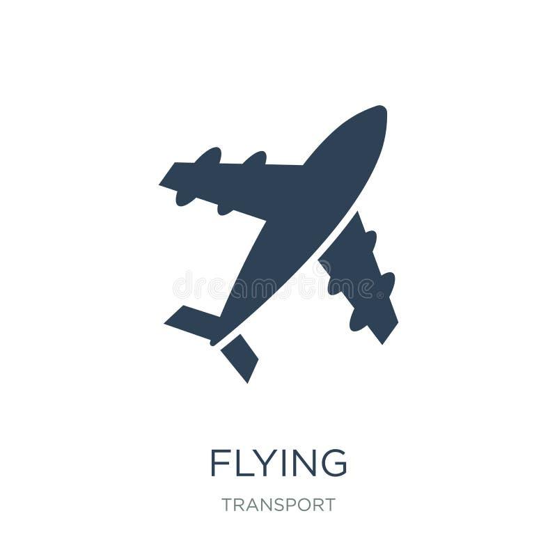 het vliegende pictogram van de vliegtuig hoogste mening in in ontwerpstijl het vliegende pictogram van de vliegtuig hoogste die m stock illustratie