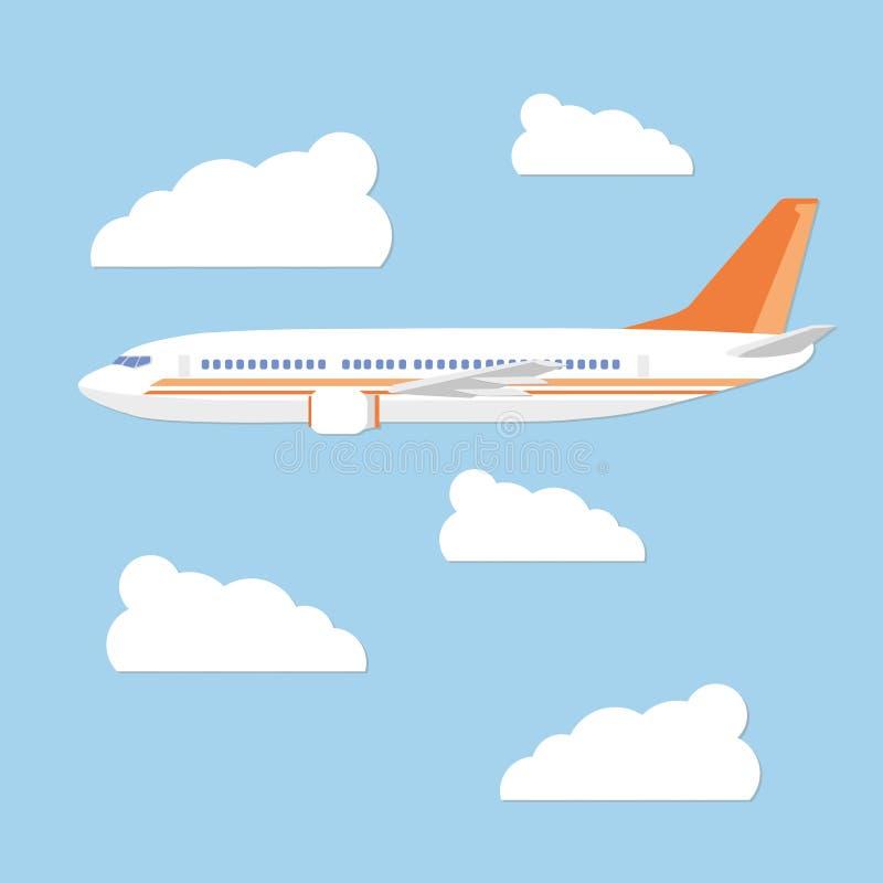 Het vliegtuig in de hemel op een achtergrond betrekt royalty-vrije stock fotografie