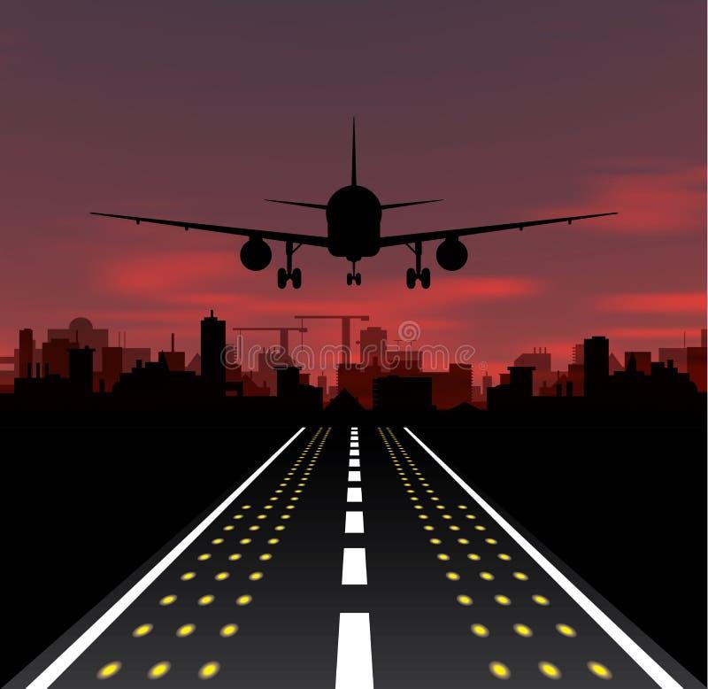 Het vliegtuig gaat bij zonsondergang en nachtstad van start vector illustratie