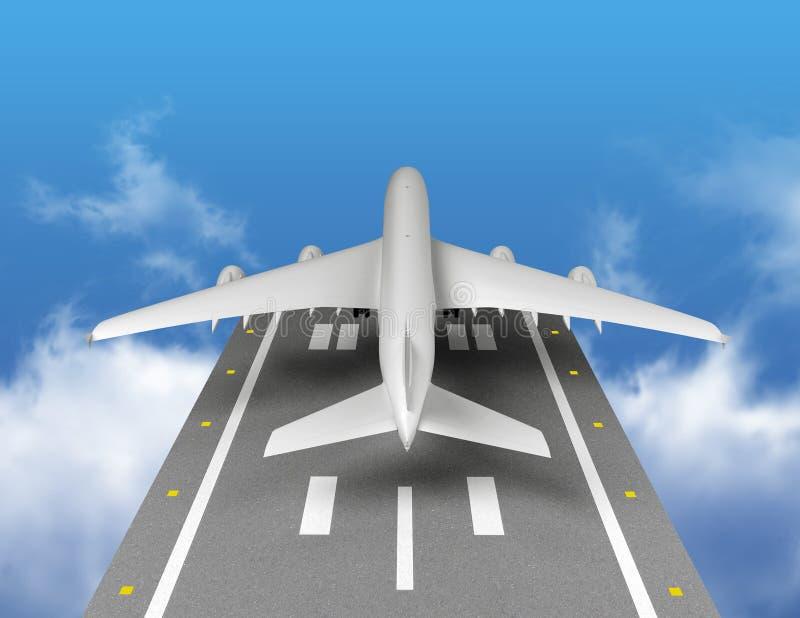 Het vliegtuig gaat van start Achter mening royalty-vrije illustratie