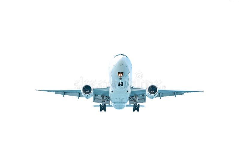 Het vliegtuig landt over geïsoleerd water royalty-vrije stock afbeelding