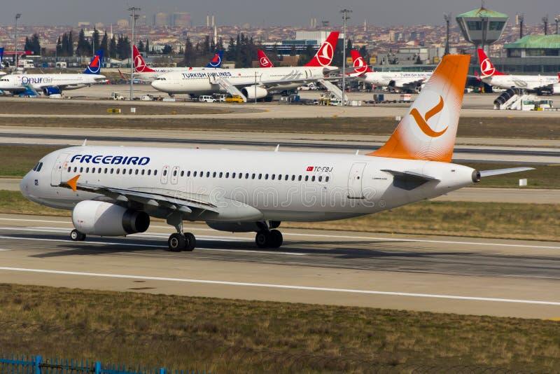Het Vliegtuig van de Freebirdluchtbus A320 stock foto