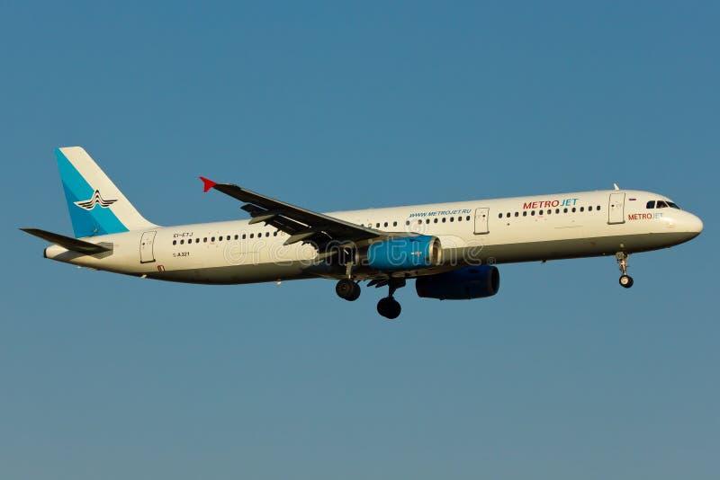 Het Vliegtuig van de Metrojetluchtbus A321 stock afbeeldingen