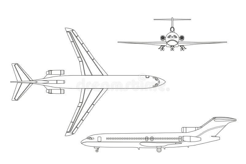 Het vliegtuig van de overzichtstekening op een witte achtergrond Bovenkant, voorzijde, kant v royalty-vrije illustratie
