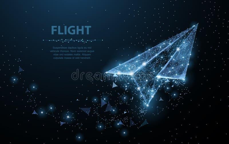 Het vliegtuig van het document Het lage polywireframenetwerk kijkt als constellatie op donkerblauw Illustratie of achtergrond stock illustratie