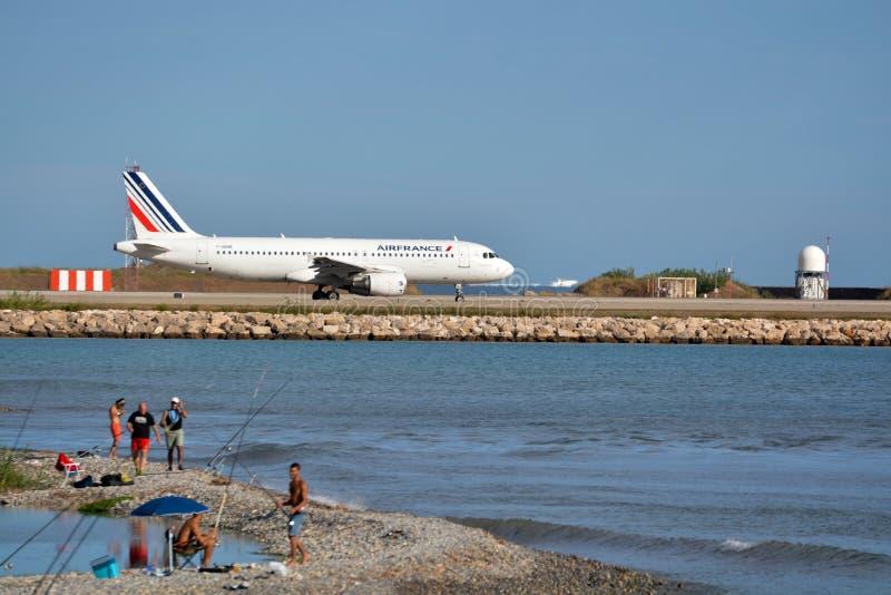 Het vliegtuig van Frankrijk van de lucht stock foto
