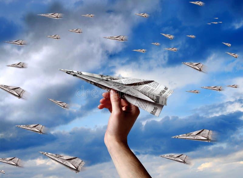 Het vliegtuig van het document stock afbeeldingen