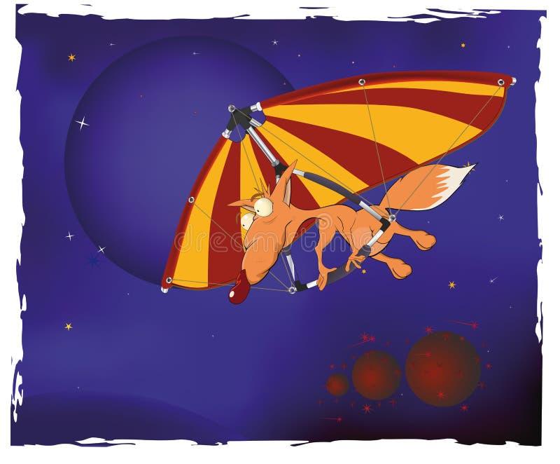 Het vliegtuig van paragraaf en een jonge vos vector illustratie