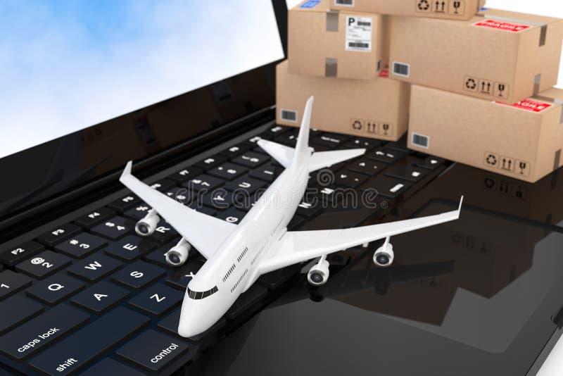 Het Vliegtuig van witte Jet Passenger met Kartondozen over Modern stock illustratie