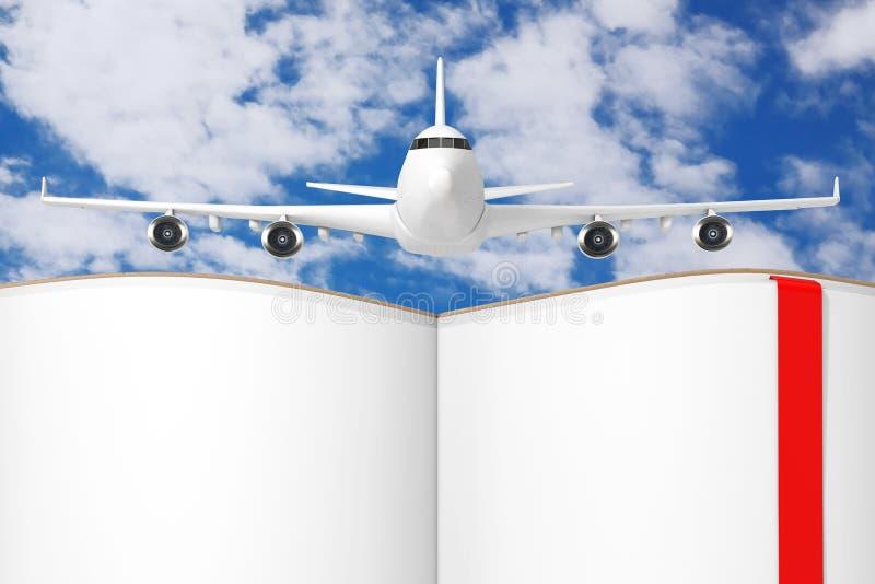Het Vliegtuig van witte Jet Passenger over Geopend Boek met Blanco pagina's voor Uw Ontwerp het 3d teruggeven royalty-vrije illustratie