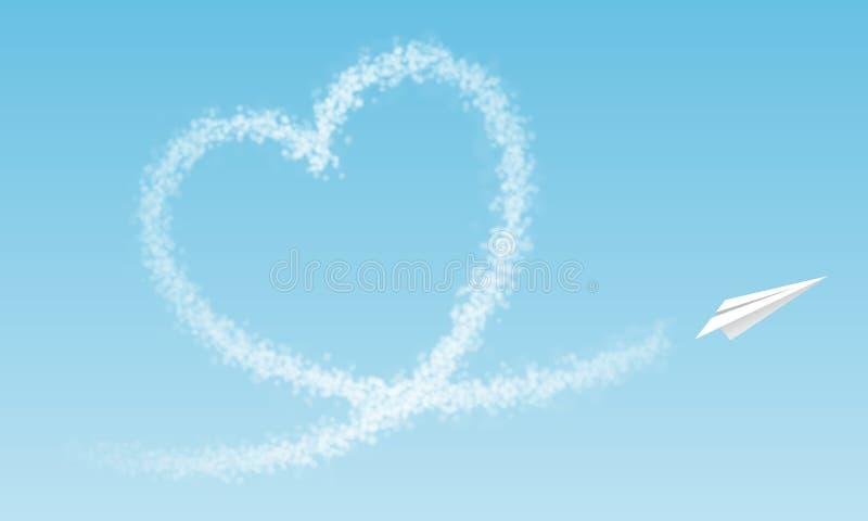Het vliegtuig vliegt een wolkenhart voor blauwe hemel stock illustratie