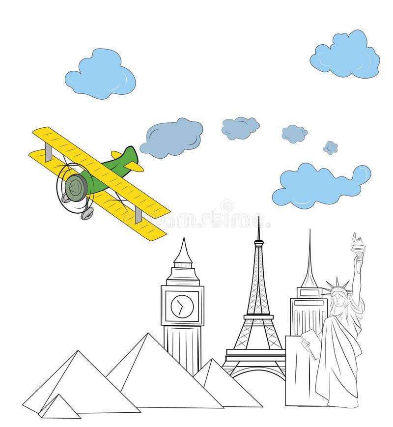 Het vliegtuig vliegt over de wereld` s gezichten Concept reis Vector illustratie royalty-vrije illustratie