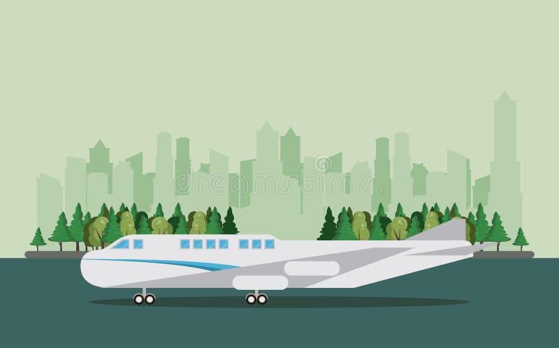 Het vliegtuigbeeldverhaal van vervoers commercieel passagiers royalty-vrije illustratie