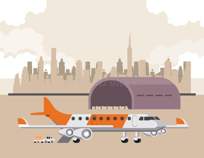 Het vliegtuigbeeldverhaal van vervoers commercieel passagiers vector illustratie