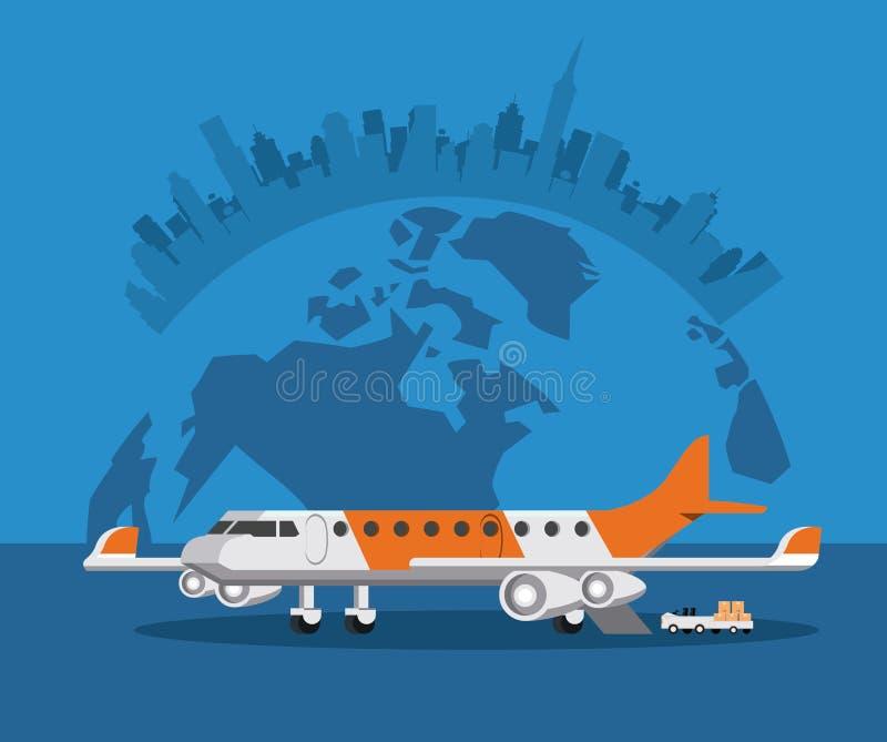 Het vliegtuigbeeldverhaal van vervoers commercieel passagiers stock illustratie