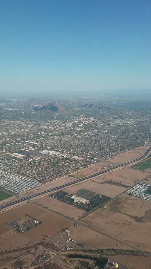 Het vliegtuigmening van Phoenix Arizona stock afbeeldingen