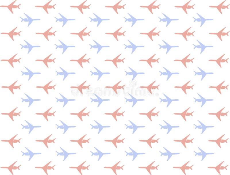 Het vliegtuigpatroon plaatste vele minisilhouettenpictogrammen blauwe rode beweging reeks right left achtergrondvervoer achtergro royalty-vrije illustratie