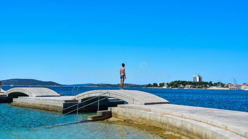 Het Vodice-strand, Kroatië royalty-vrije stock afbeeldingen