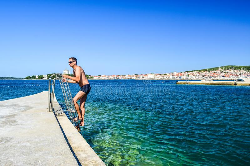 Het Vodice-strand, Kroatië royalty-vrije stock fotografie