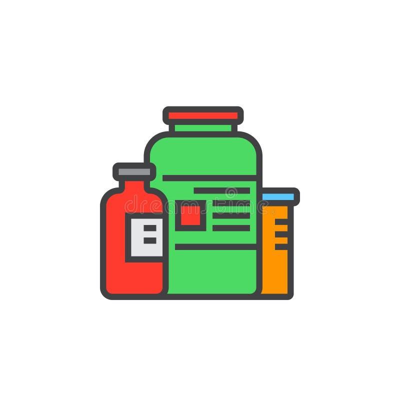 Het voedingspictogram van de supplementenlijn, gevuld overzichts vectorteken, lineair kleurrijk pictogram dat op wit wordt geïsol stock illustratie