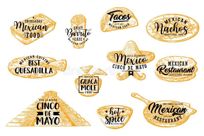 Het voedsel en de drank van Cinco de Mayo Mexicaanse vakantie vector illustratie