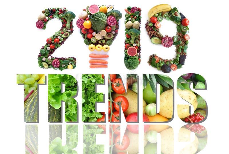 het voedsel en de gezondheidstendensen van 2019 stock fotografie