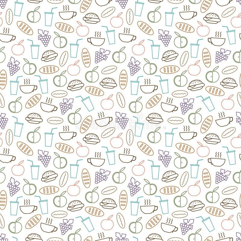Het voedsel en het dranken naadloze patroon ontwerpen - naadloze textuur met hamburger, dranken, brood en vruchten lijnpictogramm vector illustratie