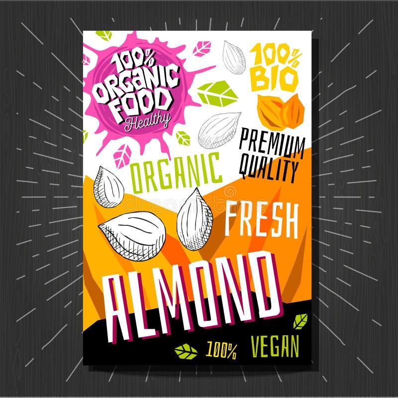 Het voedsel etiketteert stickers geplaatst de kleurrijke vruchten van de schetsstijl, het pakketontwerp van kruidengroenten op wi royalty-vrije illustratie