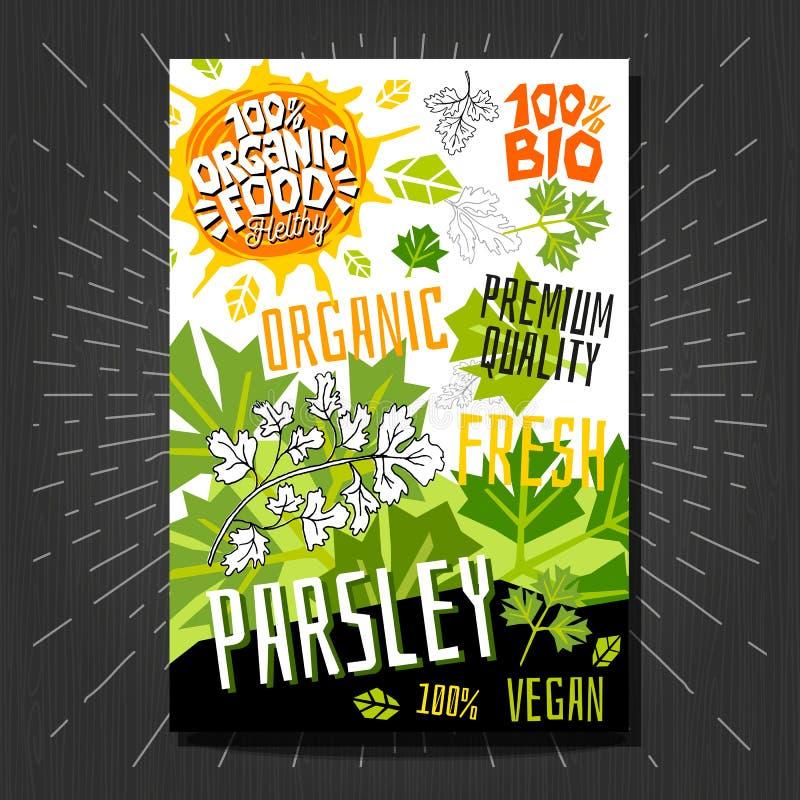 Het voedsel etiketteert stickers geplaatst de kleurrijke vruchten van de schetsstijl, het pakketontwerp van kruidengroenten Peter stock illustratie