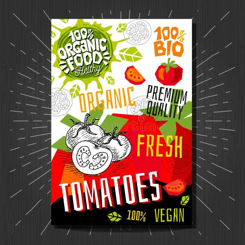 Het voedsel etiketteert stickers geplaatst de kleurrijke vruchten van de schetsstijl, het pakketontwerp van kruidengroenten Tomat stock illustratie
