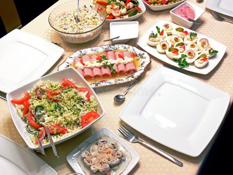 Het voedsel op een lijst detailleert royalty-vrije stock afbeelding