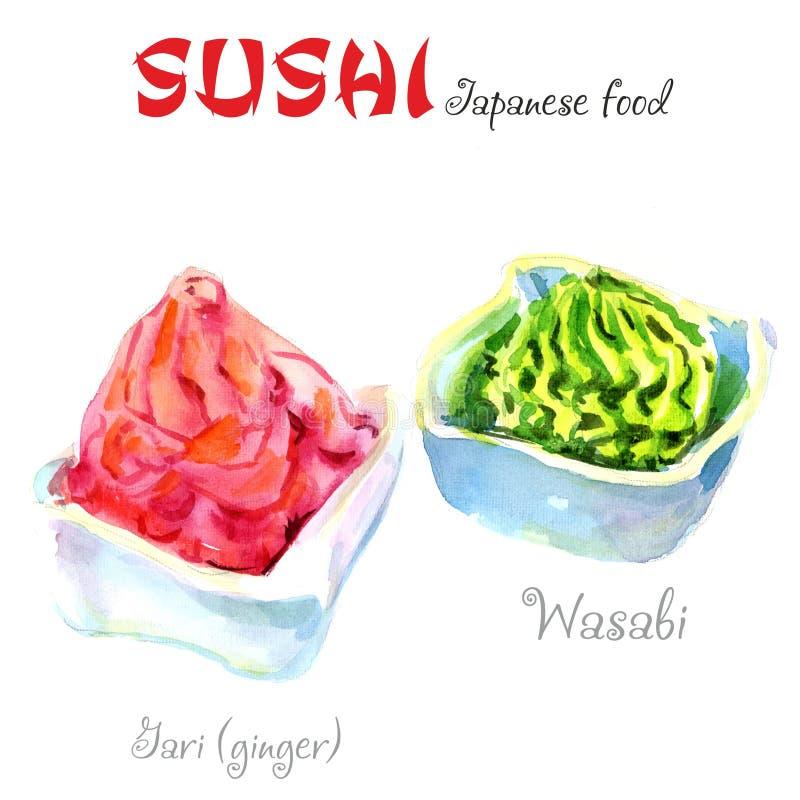 Het voedsel van Japan De illustratie van de waterverf Een gedeelte van wasabi op een witte achtergrond royalty-vrije illustratie