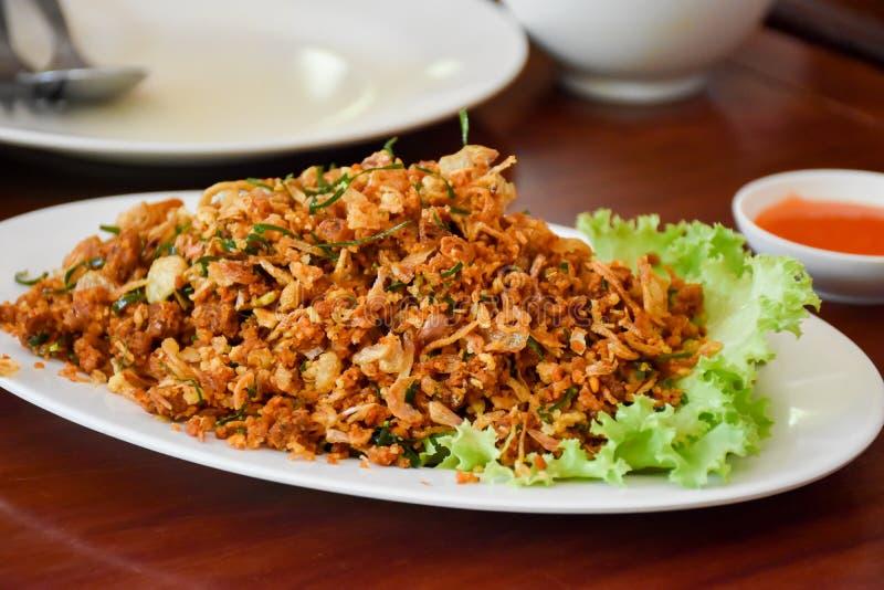 Het voedsel van vissenlarb Isan Thailand stock fotografie