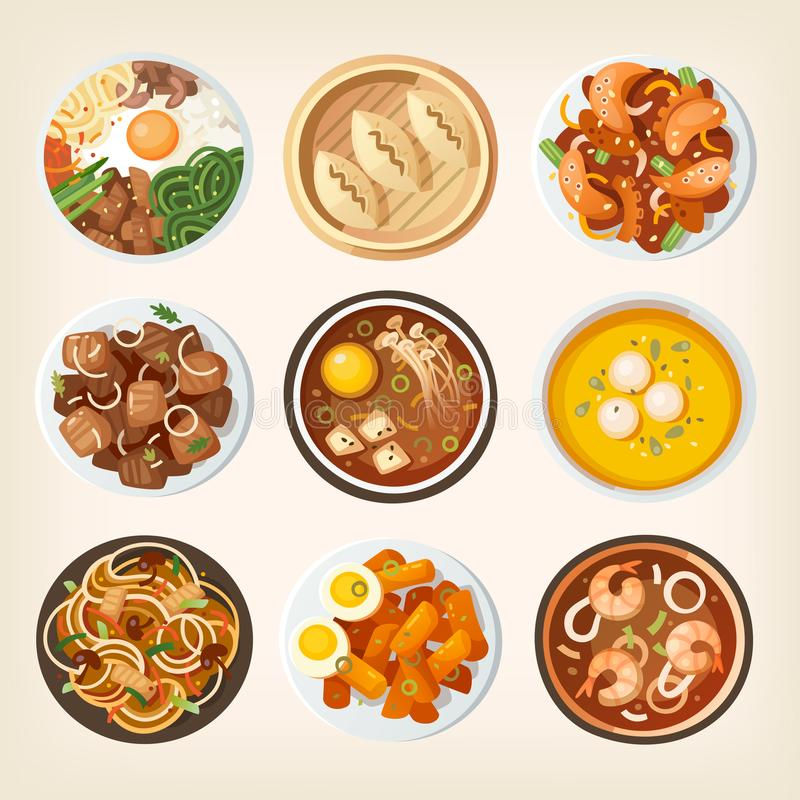 Het voedsel van Zuid-Korea vanaf bovenkant vector illustratie