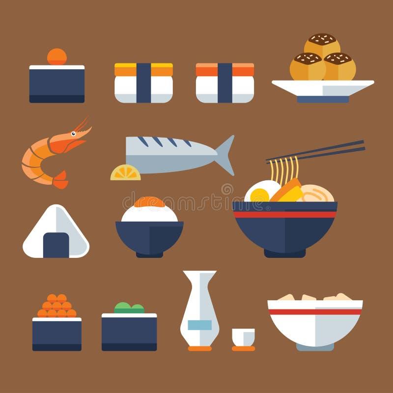 Het voedsel vlak pictogram van Japan royalty-vrije illustratie