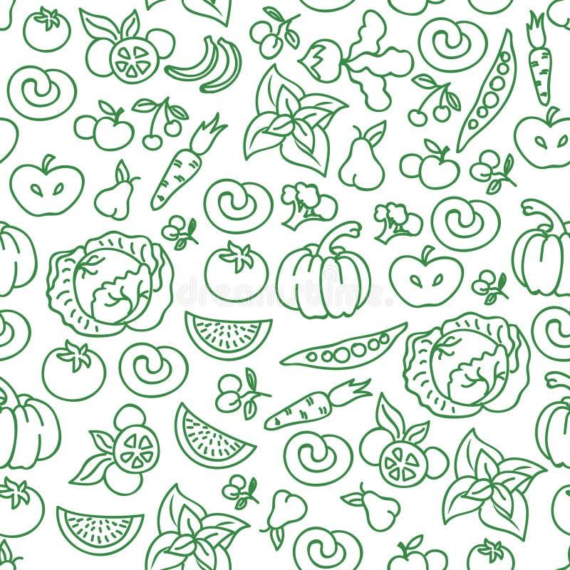 Het voedselachtergrond van het groentendieet Vector ruw plantaardig voedsel voor gezond naadloos patroon stock illustratie