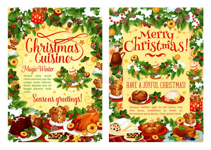 Het voedselaffiche van de Kerstmisvakantie met dinerschotel royalty-vrije illustratie